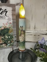 Bunny in Meadow Flameless Timer Taper Candle