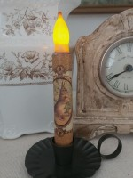 Vintage Inspired Brown Hare Flameless Timer Taper Candle