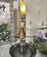Vintage Inspired Bunny Rabbit Portrait Battery Flameless Timer Taper Candle