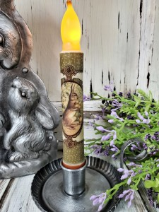 Vintage Inspired Bunny & Chicks Spring Easter Flameless Timer Taper Candle