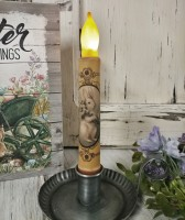 Vintage Inspired Spring Bunny with Cotton Battery Flameless Timer Taper Candle.