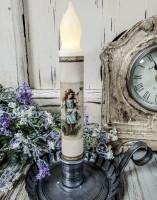 Vintage Inspired Summer Girl Blue Dress Timer Taper Candle