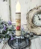 Vintage Inspired Rose Seed Packet Summer Timer Taper Candle