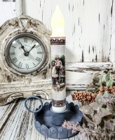 Vintage Postcard Inspired Farm Children Timer Taper Candle