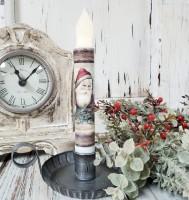 Old World Santa Handmade Timer Taper Candle