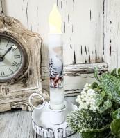 Deer in Woods Winter Handmade Timer Taper Candle