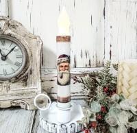 Santa with Pipe Handmade Christmas Timer Taper