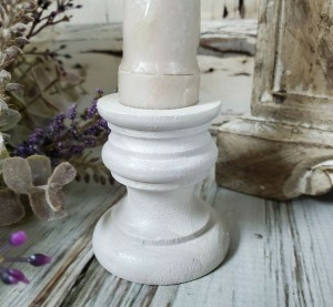 Handpainted Wooden Taper Candle Holder Cup