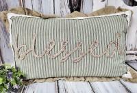 Farmhouse Jute & Burlap Blessed Large Home Decor Pillow