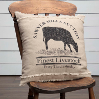 Farmhouse Cow Advertising Accent Pillow