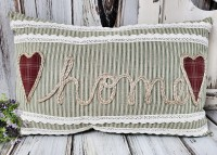 Heart Home Ticking Stripe Large Home Decor Accent Pillow