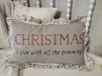 Cottage Farmhouse Christmas Love Ruffled Holiday Home Decor Accent Pillow