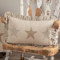 Homespun Star Ruffled Farmhouse Large Pillow