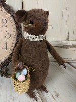 Handmade Easter Mouse with Egg Basket - Made in USA