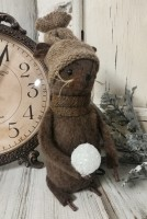 Primitive Country Handmade Winter Mouse with Snowball