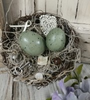 Handmade Bird Nest Shabby Cottage Home Decor Accent